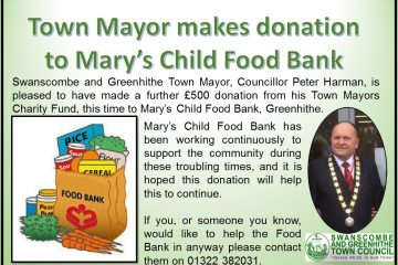 Mayors Donation to Marys Child Food Bank