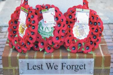 Poppy wreaths - ours in middle