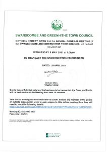 Swanscombe & Greenhithe Town Council Annual General Meeting @ Via Zoom